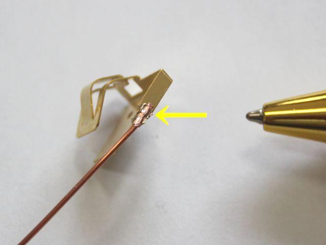 接点バネ製作後、銅単線のスポット溶接画像