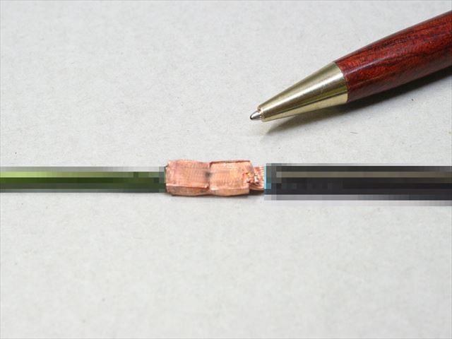 銅棒とリード線のヒュージング画像